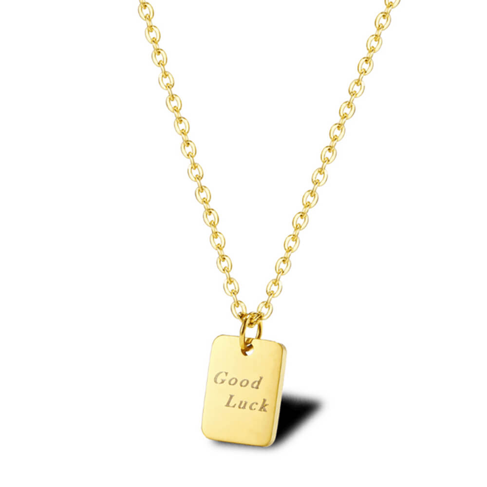 Gold Plated Rectangle Square Necklace
