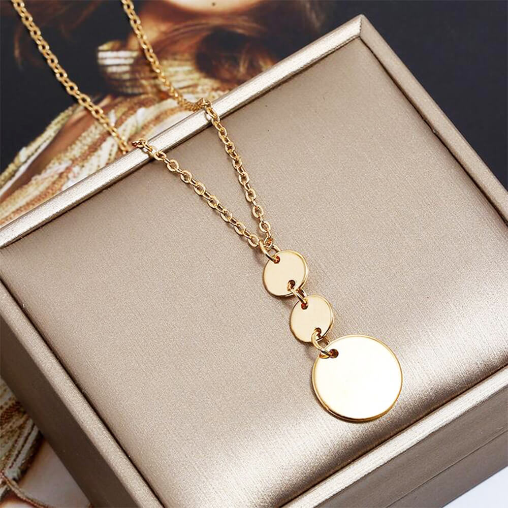 Gold Color Three Coin Long Necklace