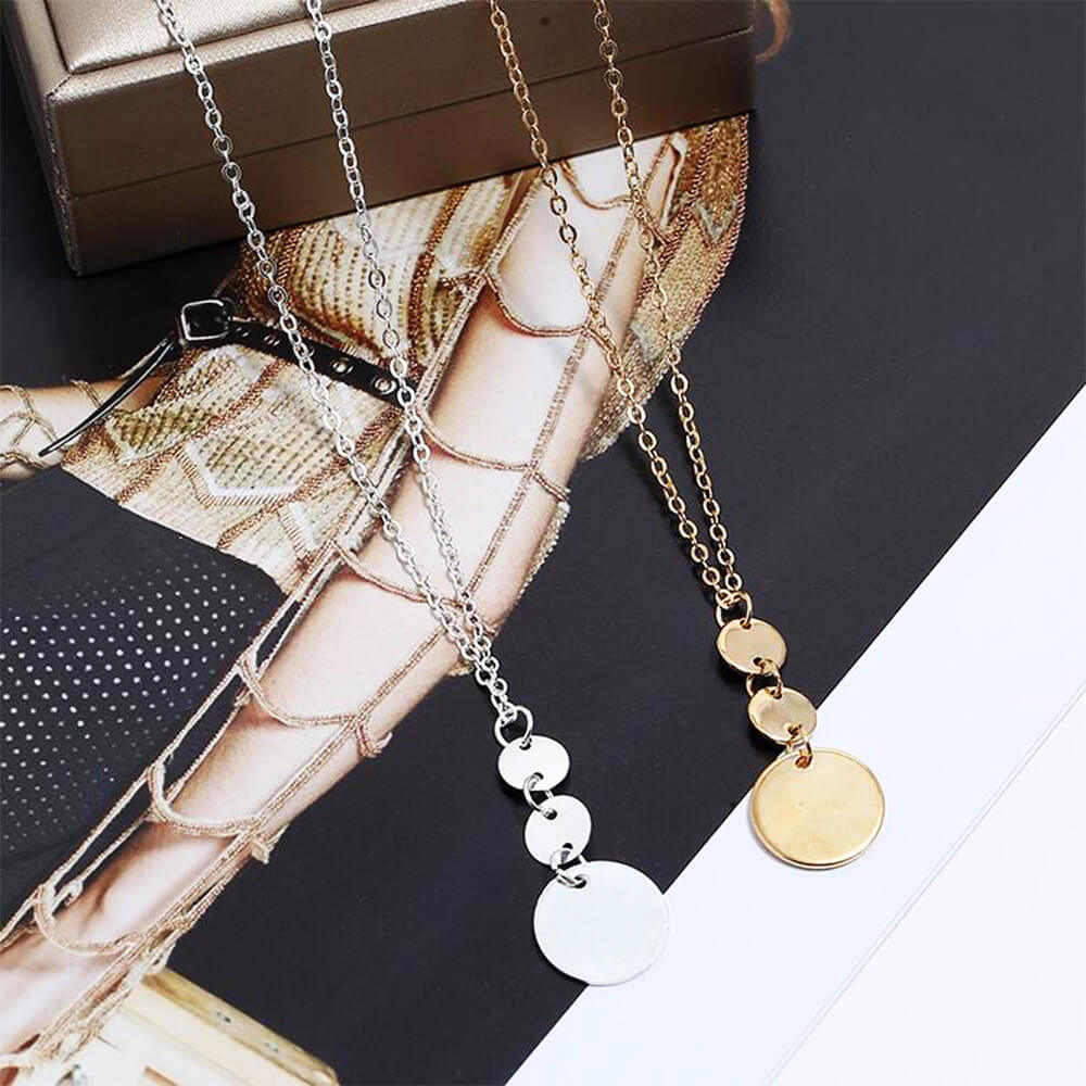 Three Coin Long Necklace