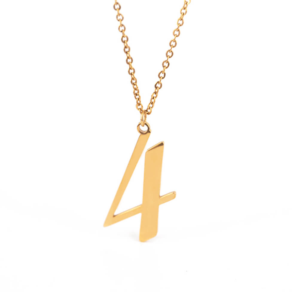 Gold Color Number 4 Necklace