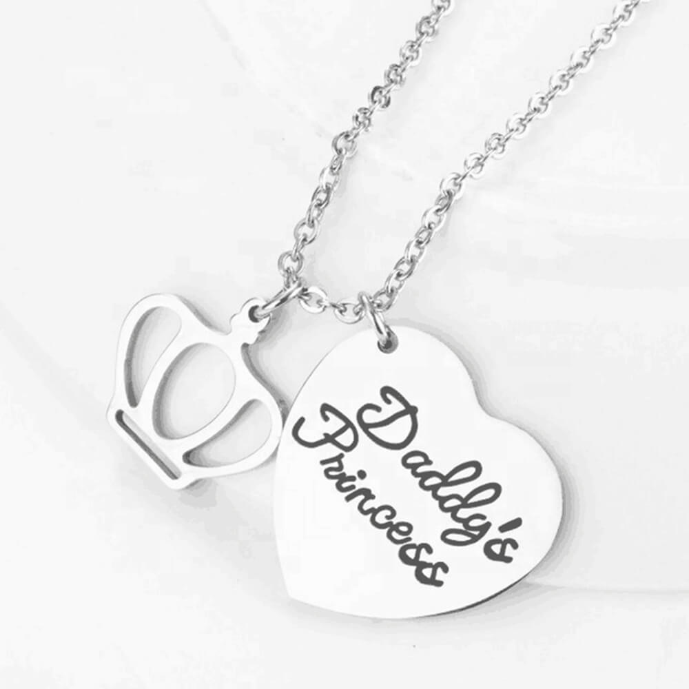 Silver Color Heart Charm Crown Necklace