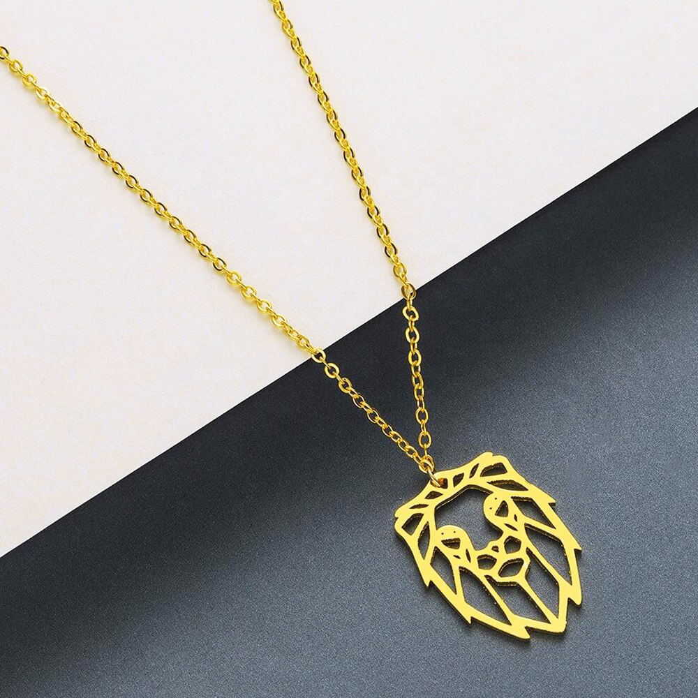 Gold color lion head necklace