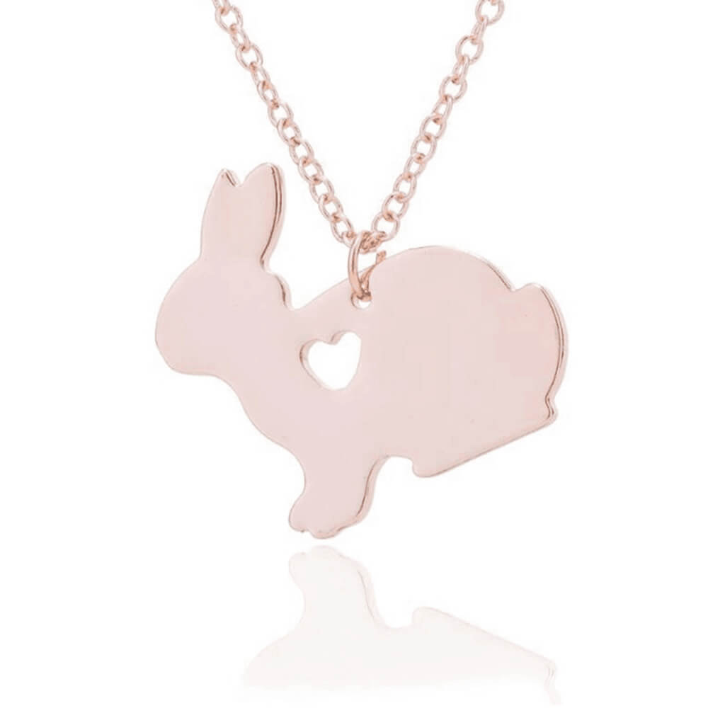 Rose gold color rabbit necklace