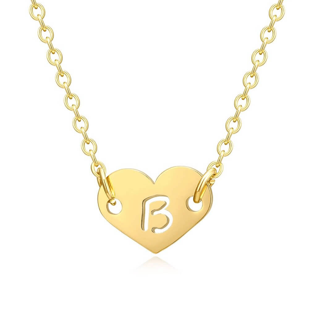 Gold color heart letter necklace