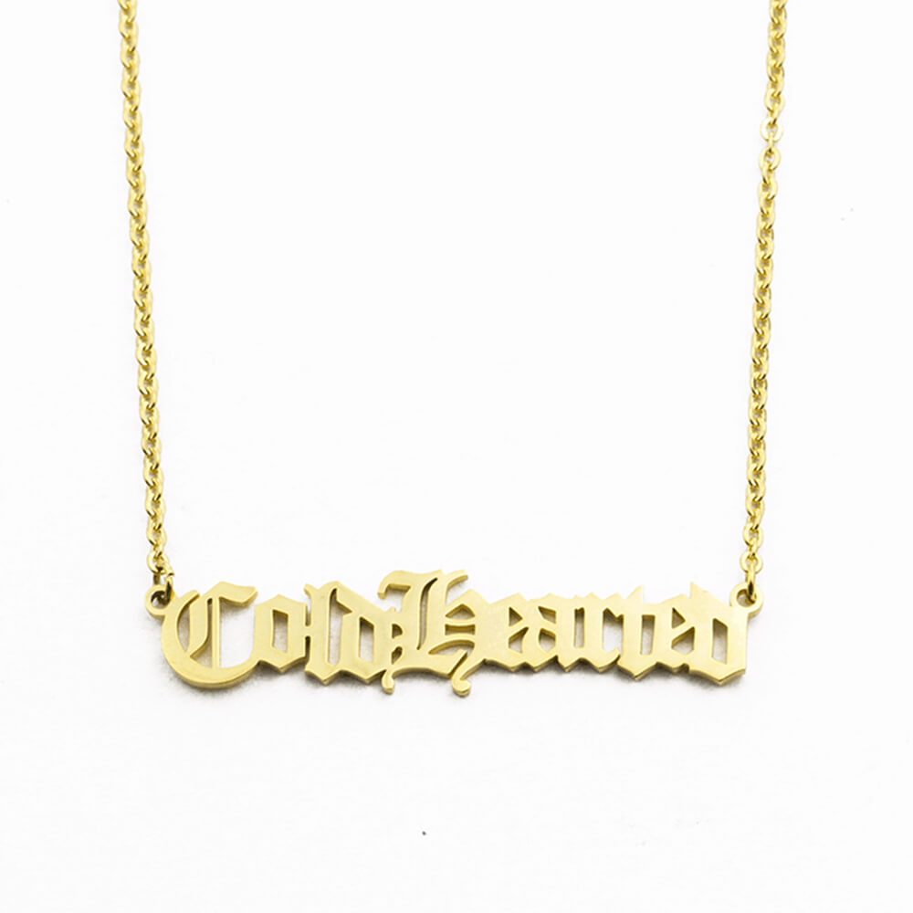 Gold color name necklace