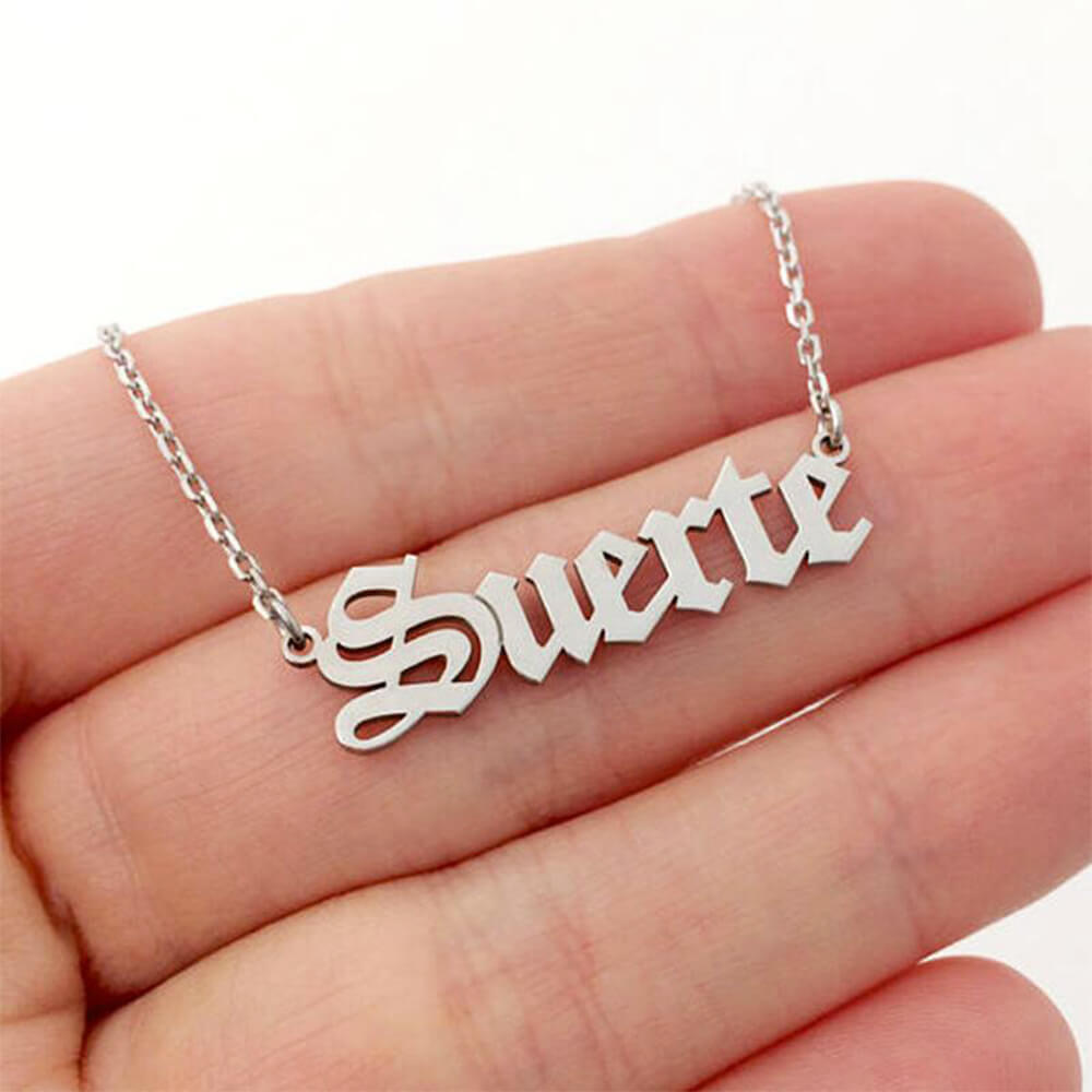 Silver color name necklace