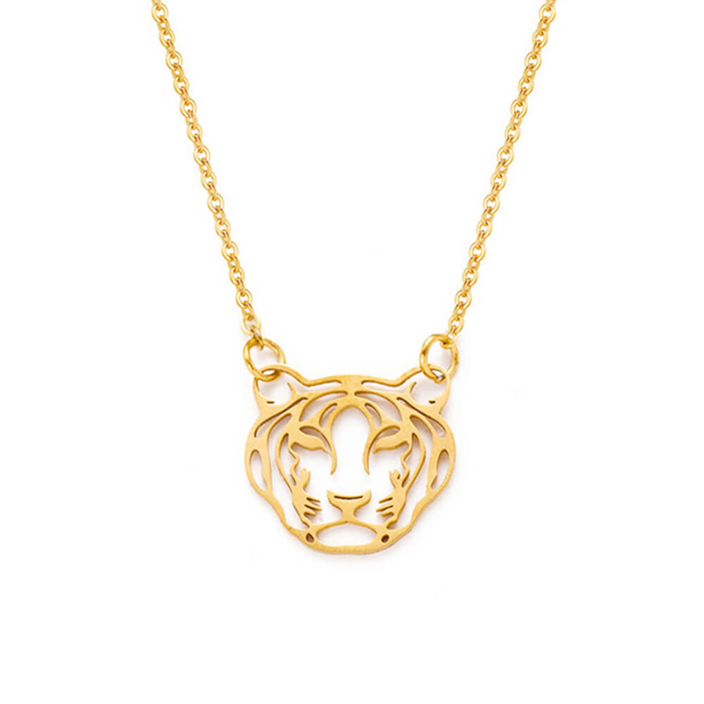 Gold Color Tiger Pendant Necklace