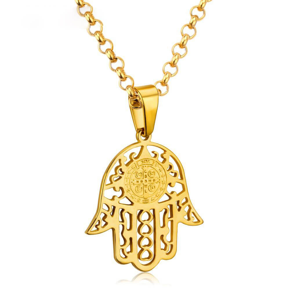 Gold Color Arabic Hand Necklace