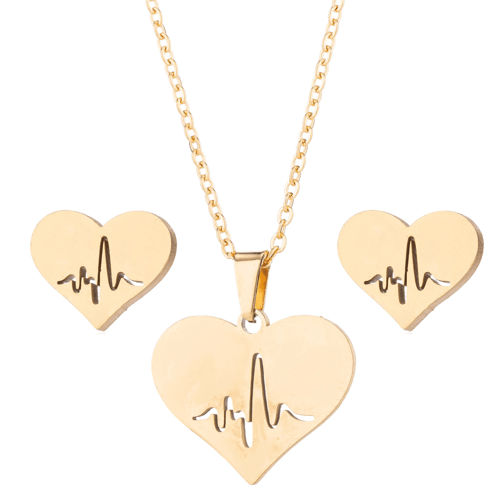 Gold Color Heart Necklace Earrings Set