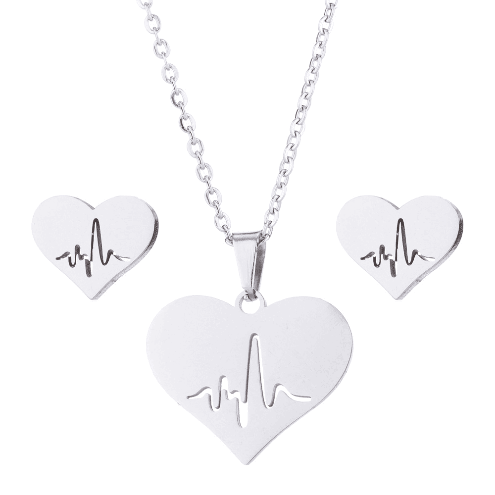 Silver Color Heart Necklace Earrings Set