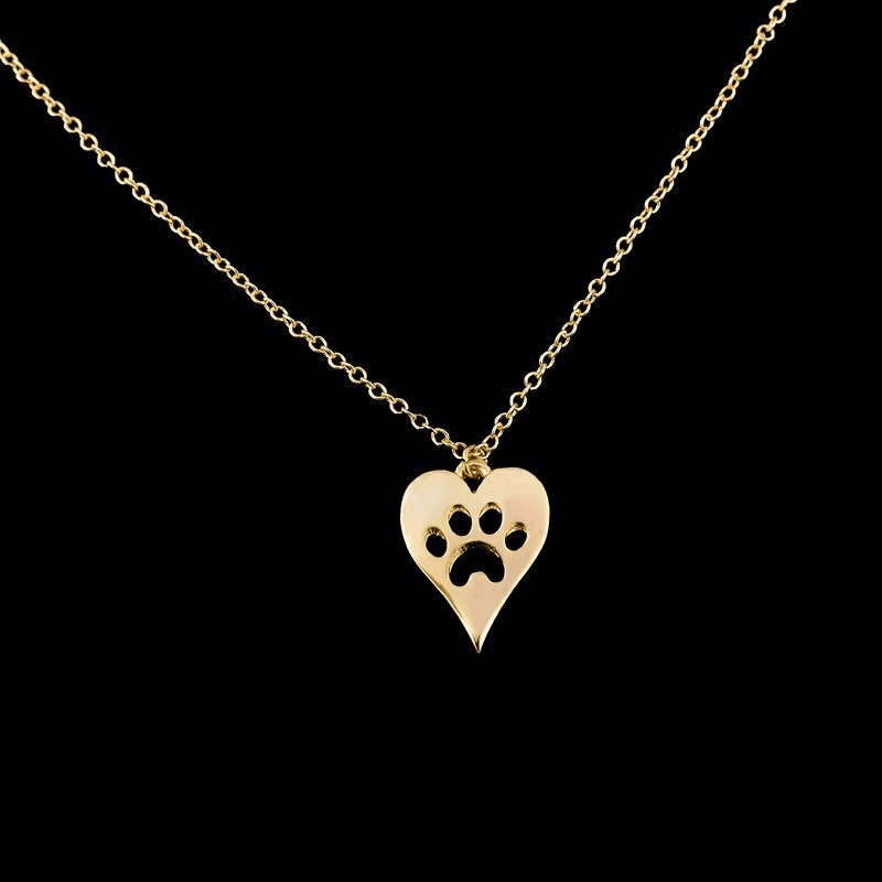 Gold Color Dog Foot Print Pendant Necklace