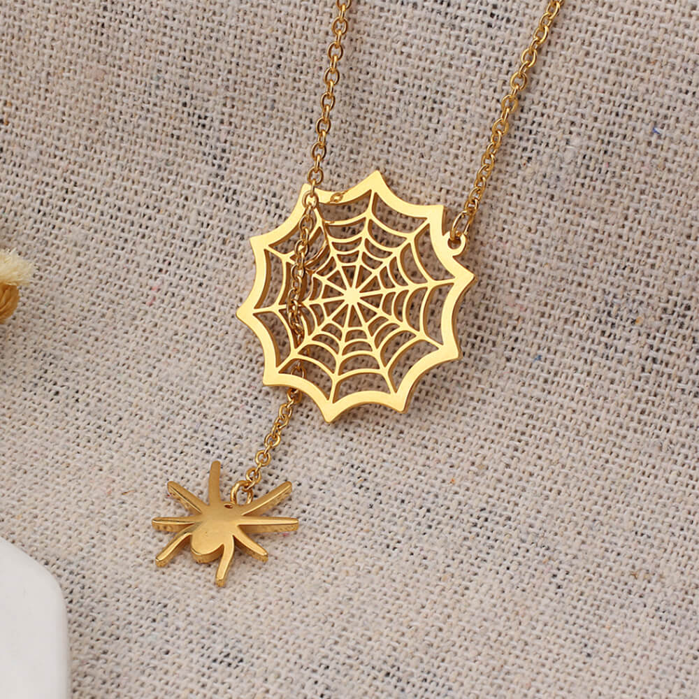 Spider and web necklace