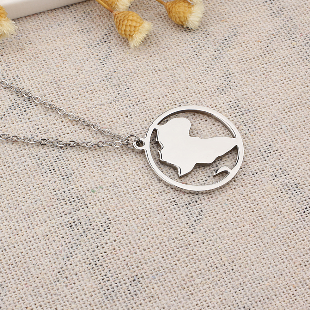 Round map necklace
