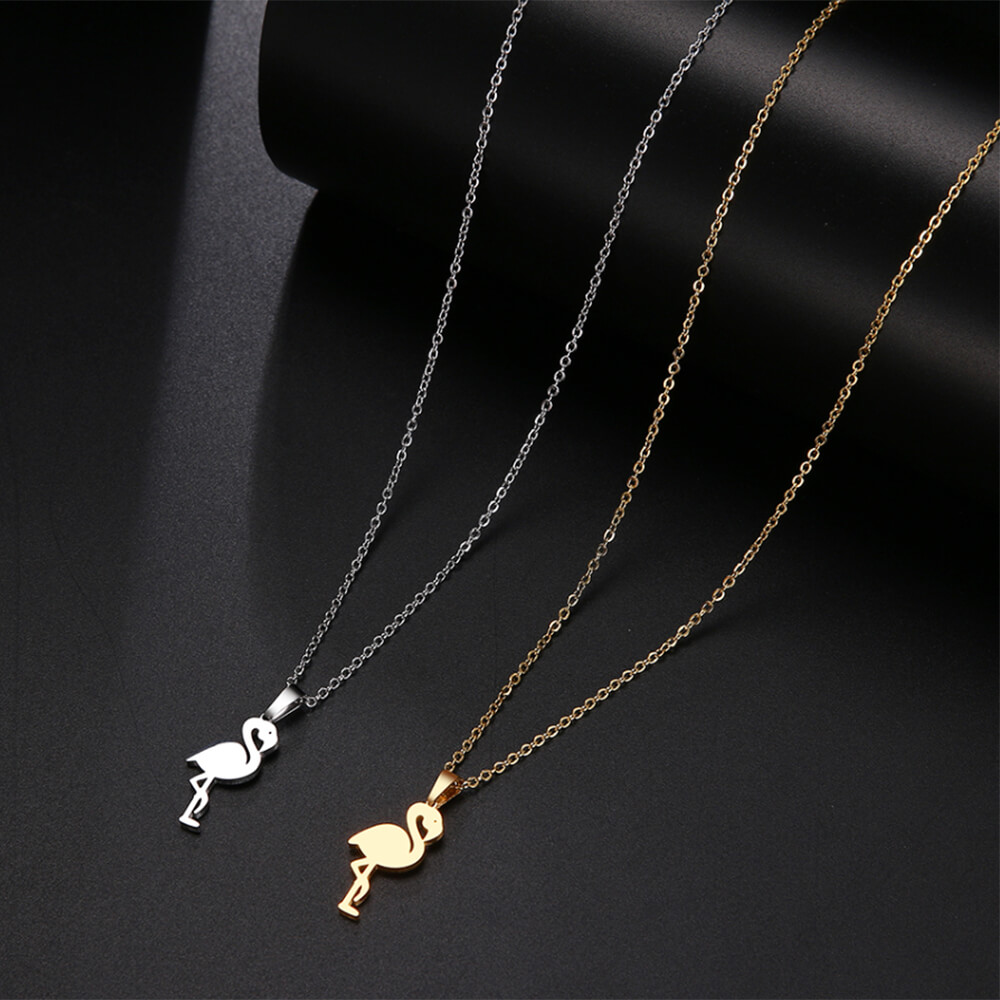 Dainty flamingo necklace