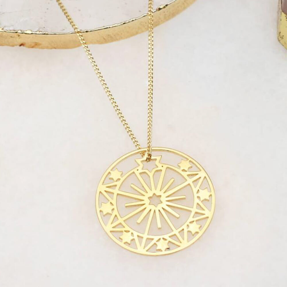 Gold Plated Hollow Round Pendant Necklace