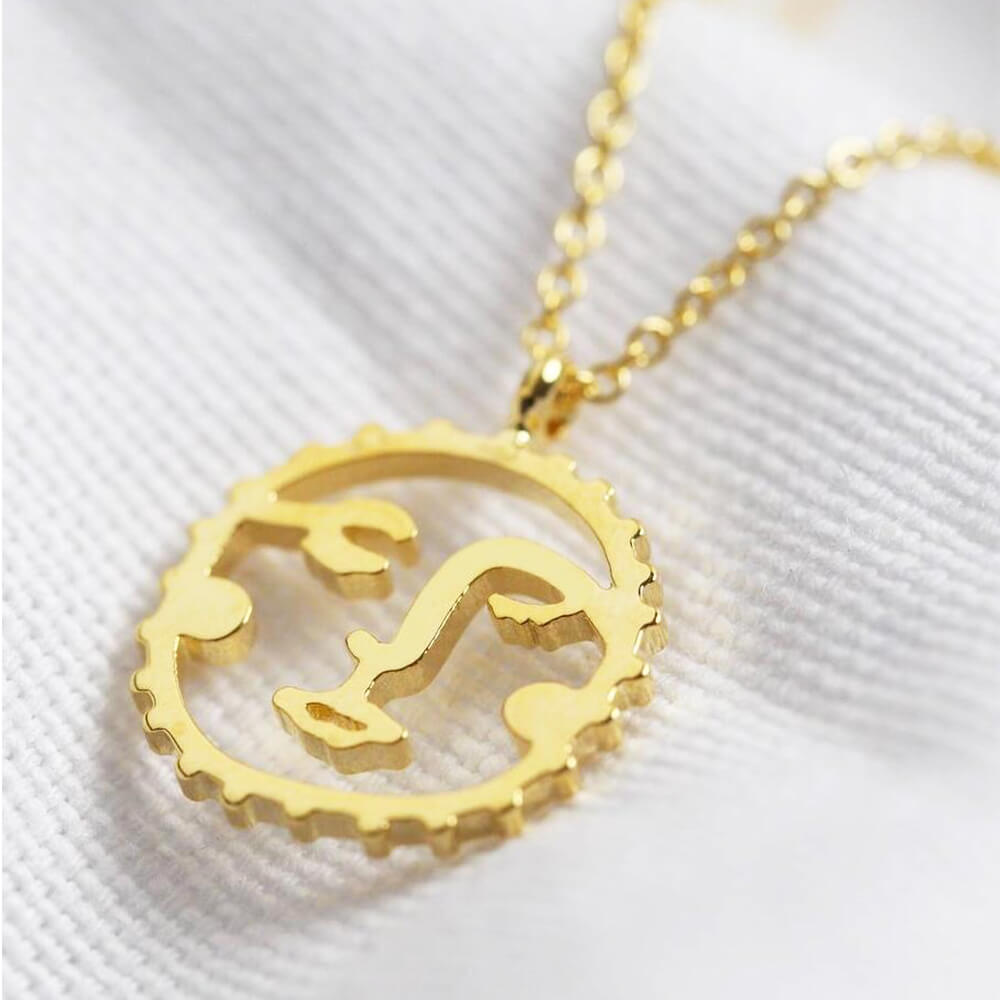 Gold Plated Sunshine Face Pendant Necklace