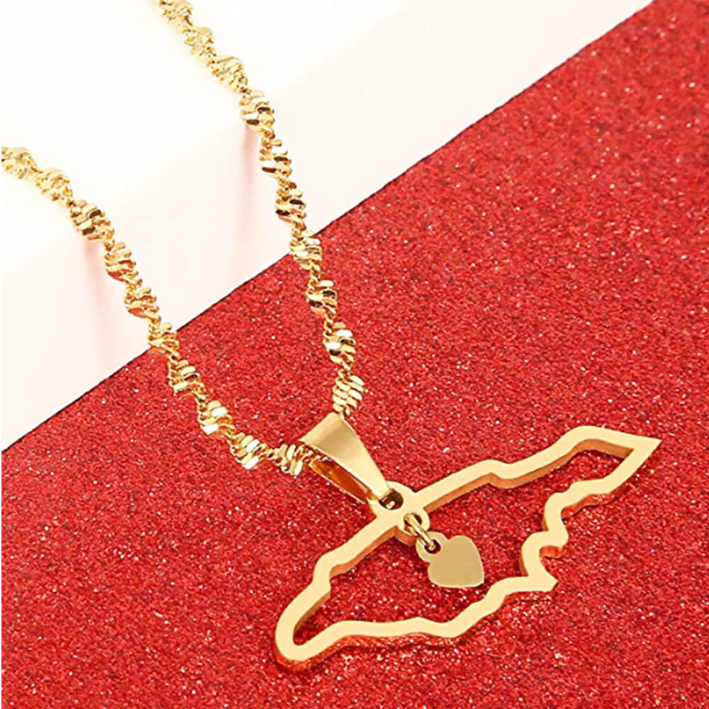 Gold Plated Jamaica Map Necklace