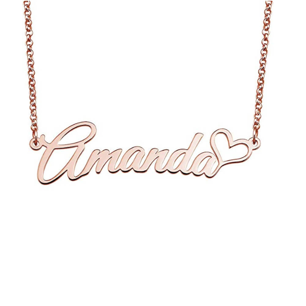 Rose Gold Color Name Necklace