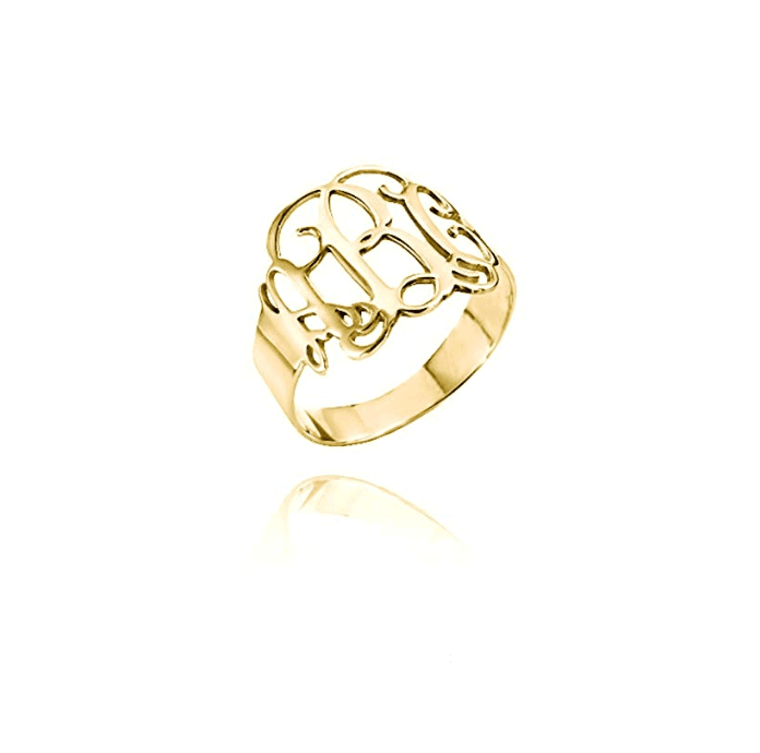 Gold Color Monogram Initial Ring