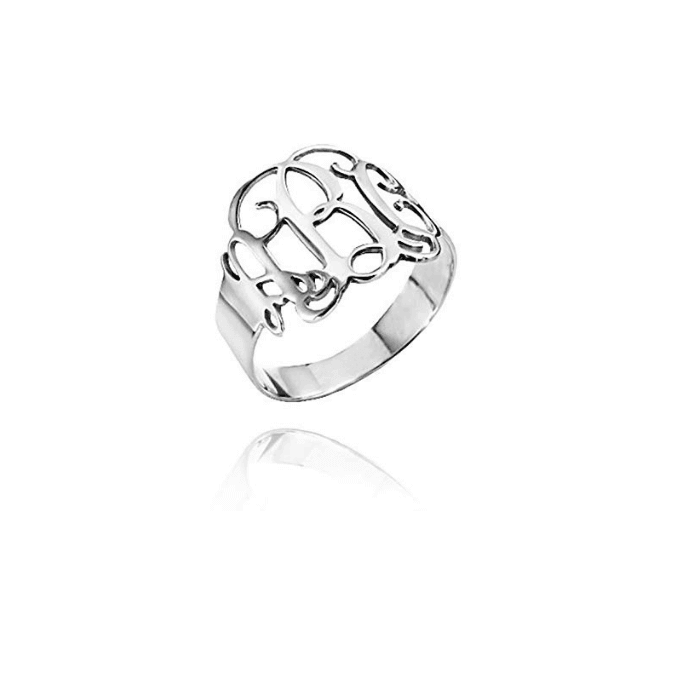 Silver Color Monogram Initial Ring