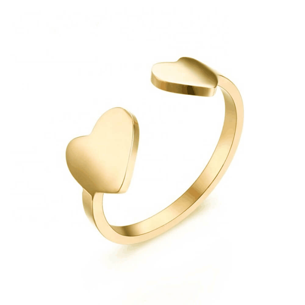 Gold Color Open Heart Ring