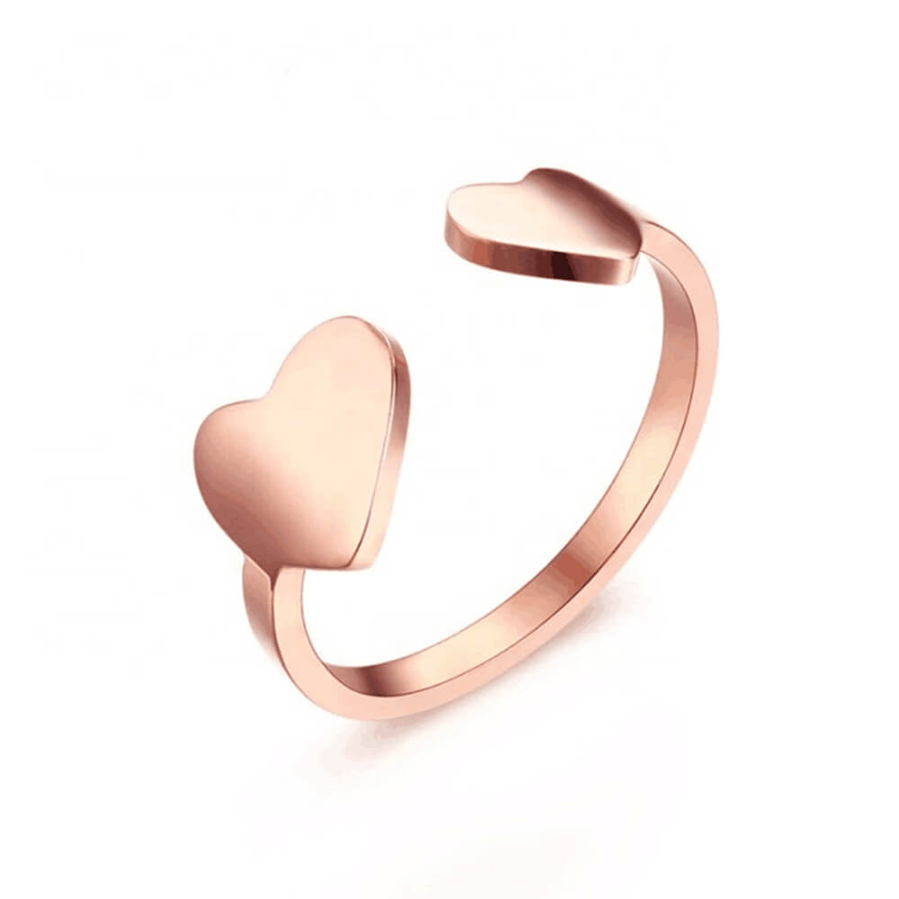Rose Gold Color Open Heart Ring