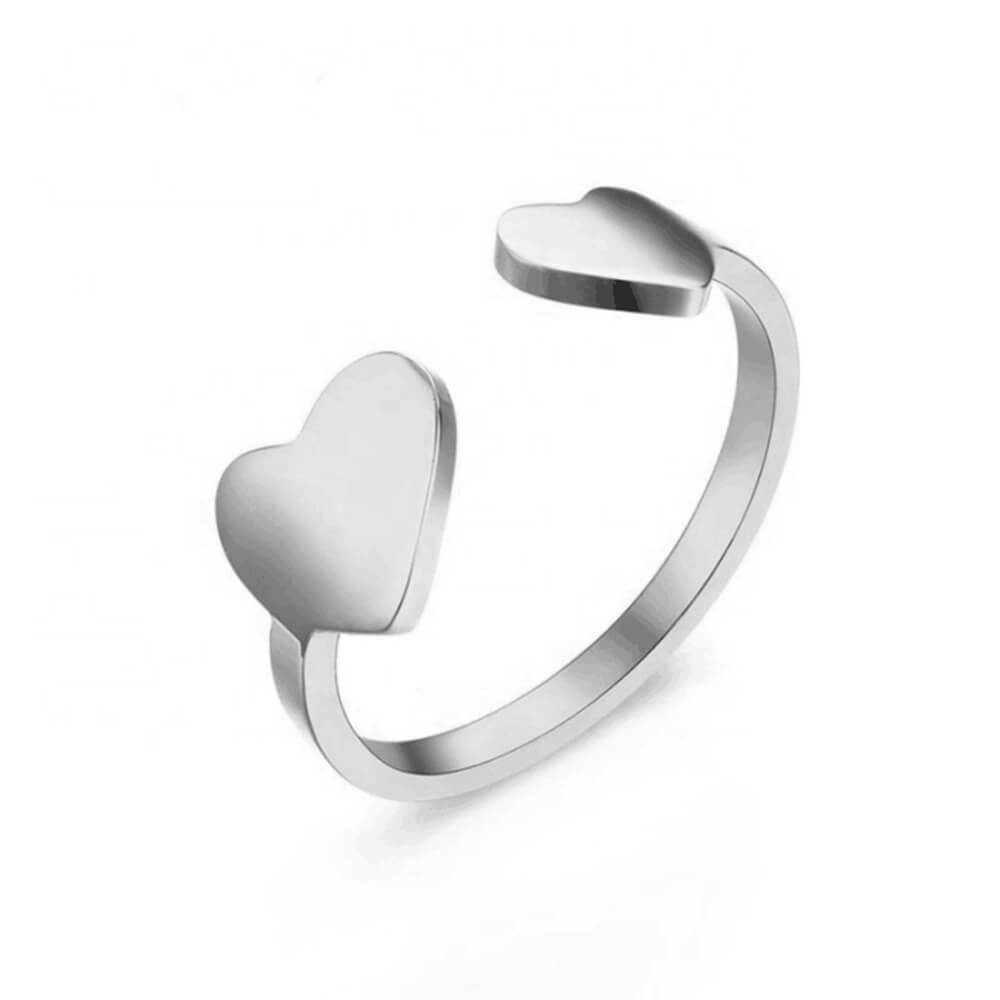 Silver Color Open Heart Ring