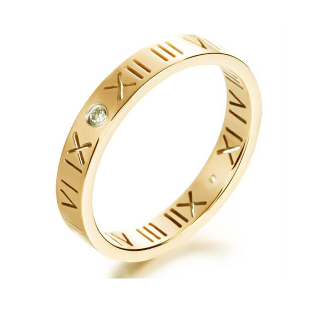 Gold Color Hollow-out Roman Numerals Ring