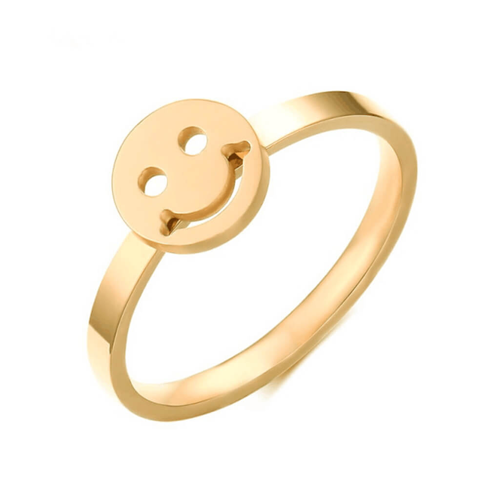Gold Plated Smile Face Charm Ring
