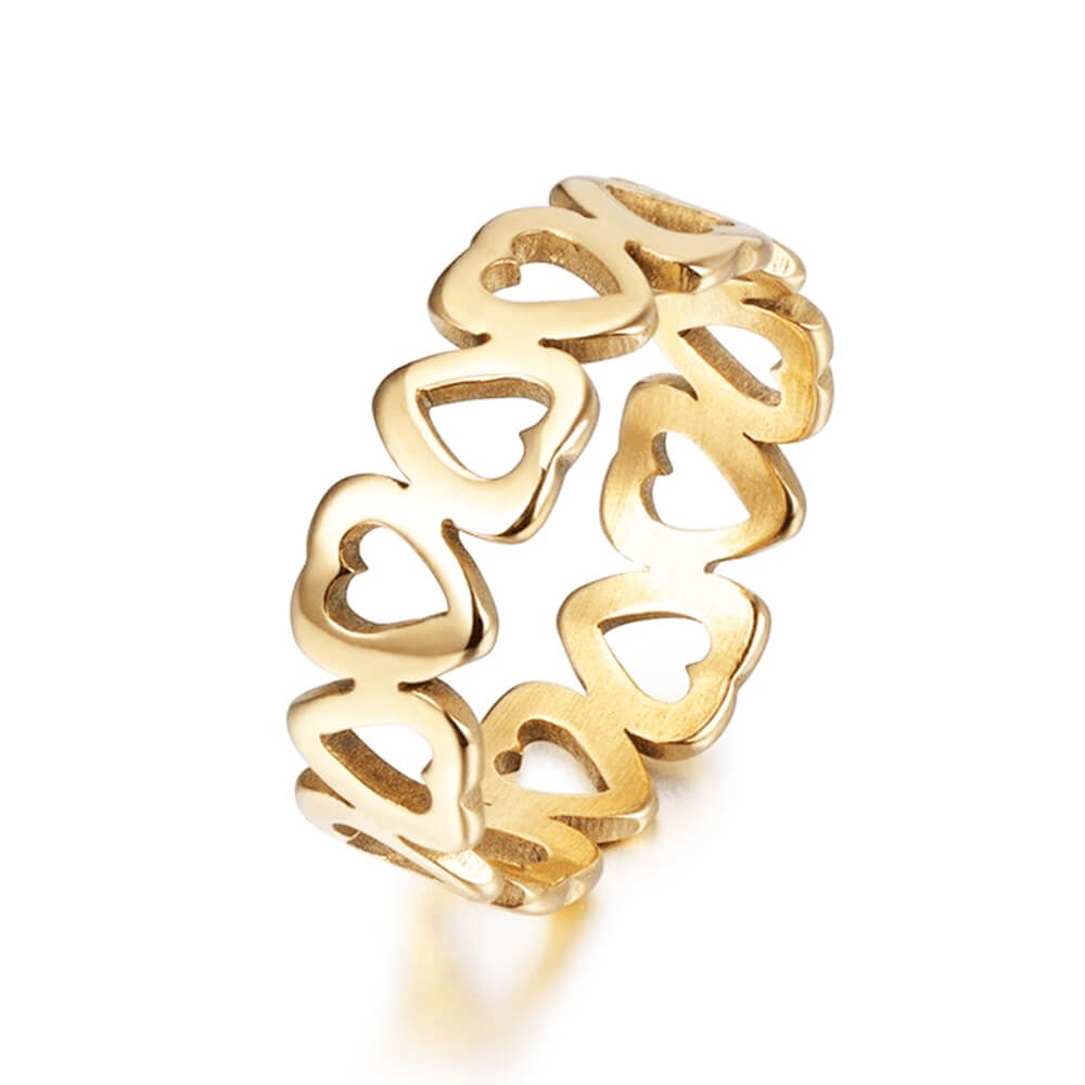 Gold Plated Hollow-cut Heart Shape Ring