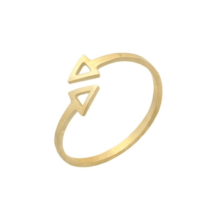 Gold Color Adjustable Geometric Triangle Ring