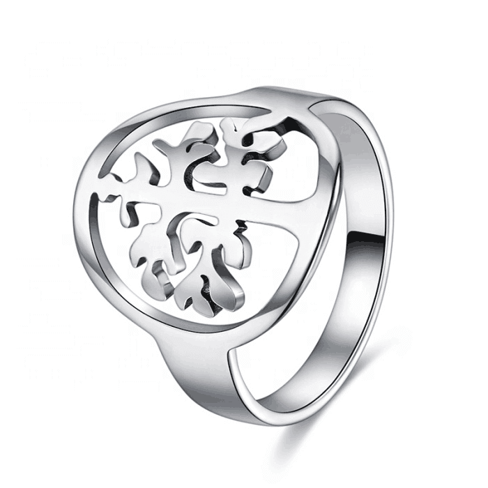 Silver Color Tree Of Life Ring