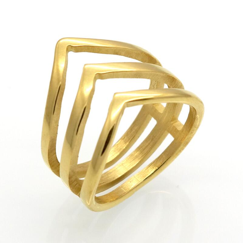 Gold Plated Three V Shape Ring