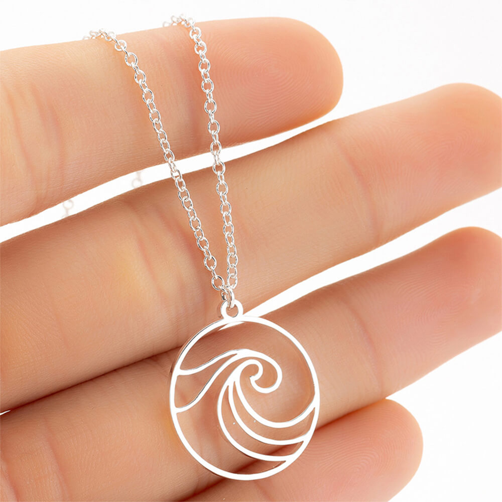 Round wave pendant necklace.