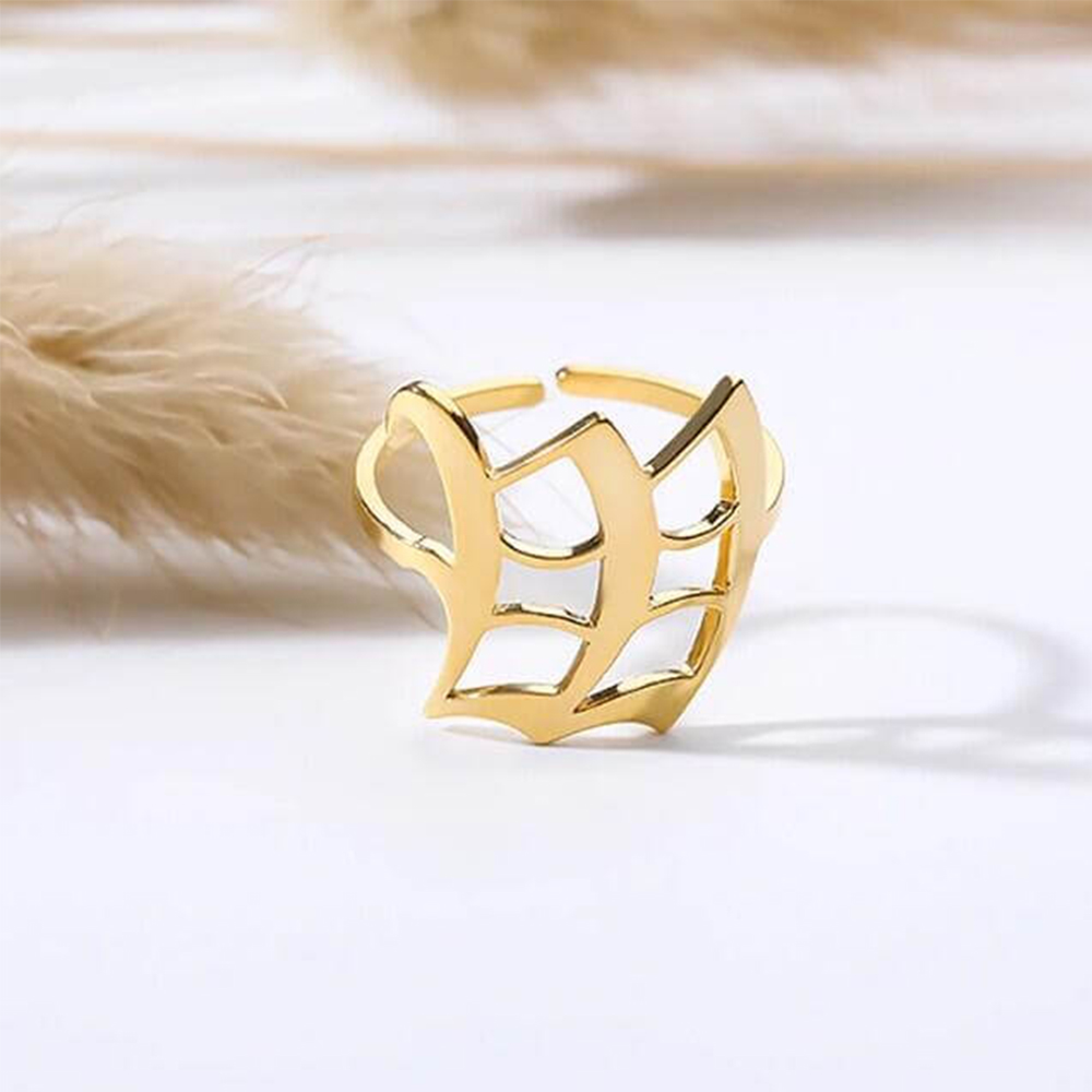 Gold Color Old English Initial Ring