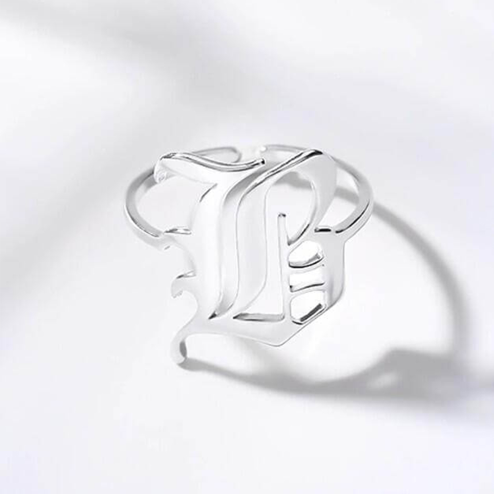 Silver Color Old English Initial Ring