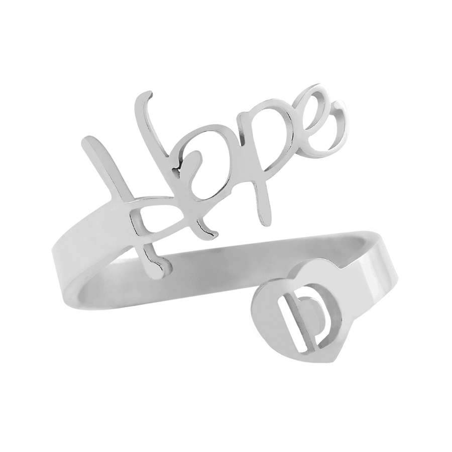 Silver Color Adjustable Initials Ring