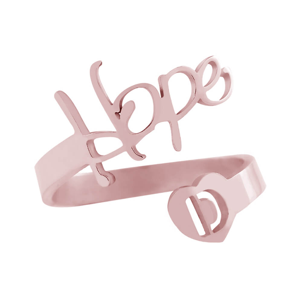 Rose Gold Color Adjustable Initials Ring