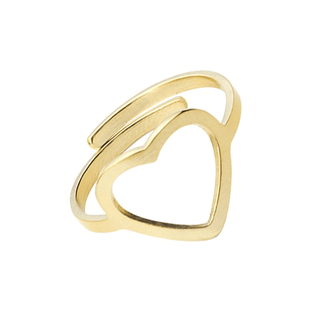 Gold Color Adjustable Heart Ring