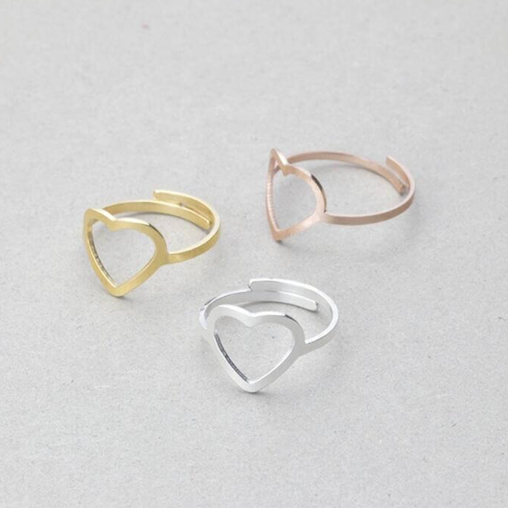 Three Colors Adjustable Heart Rings