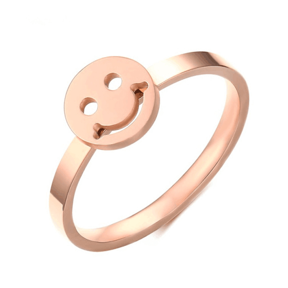 Rose Gold Plated Smile Face Charm Ring