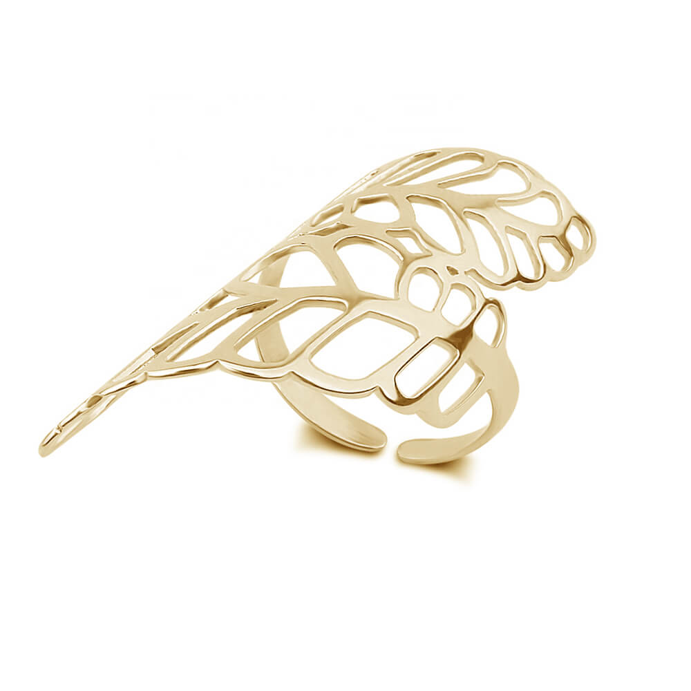 Gold Color Hollow Leaf Shape Ring