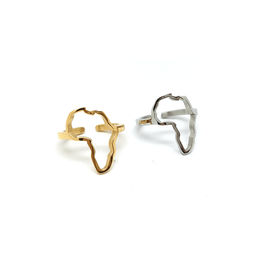 Gold Color And Silver Color Africa Map Rings