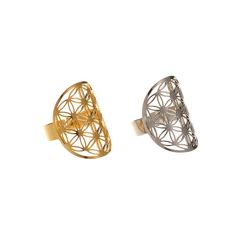 Adjustable Flower Of Life Ring