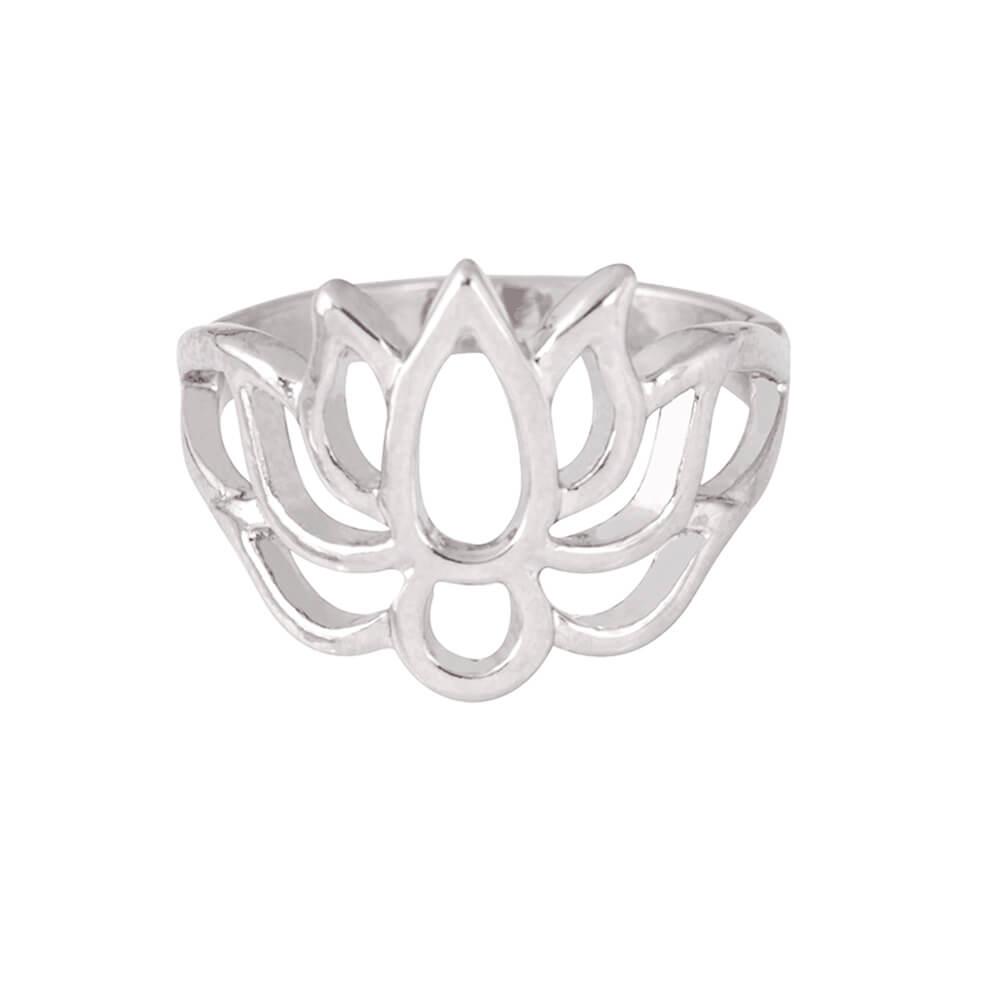 Silver Color Flower Lotus Ring