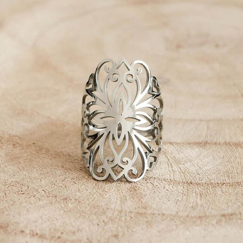 Silver Color Adjustable Flower of Life Ring