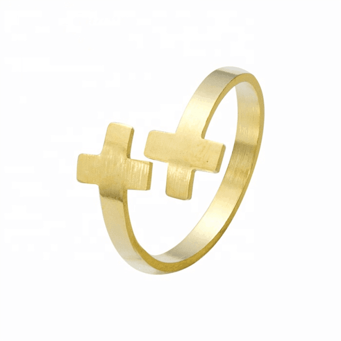 Gold Color Double Cross Ring