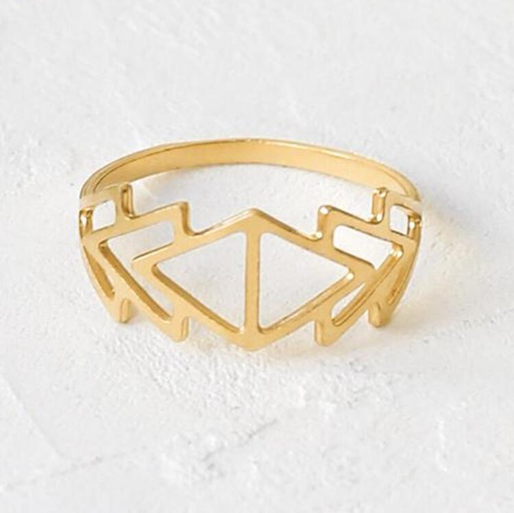 Gold Plated Hollow Triangle Ring
