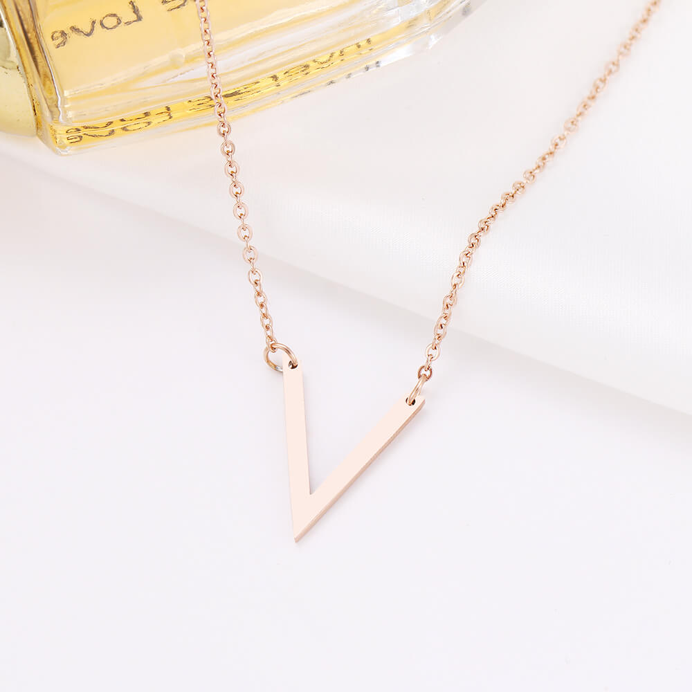 This is letter V pendant necklace.