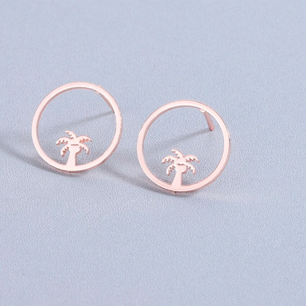 round palm tree earrings